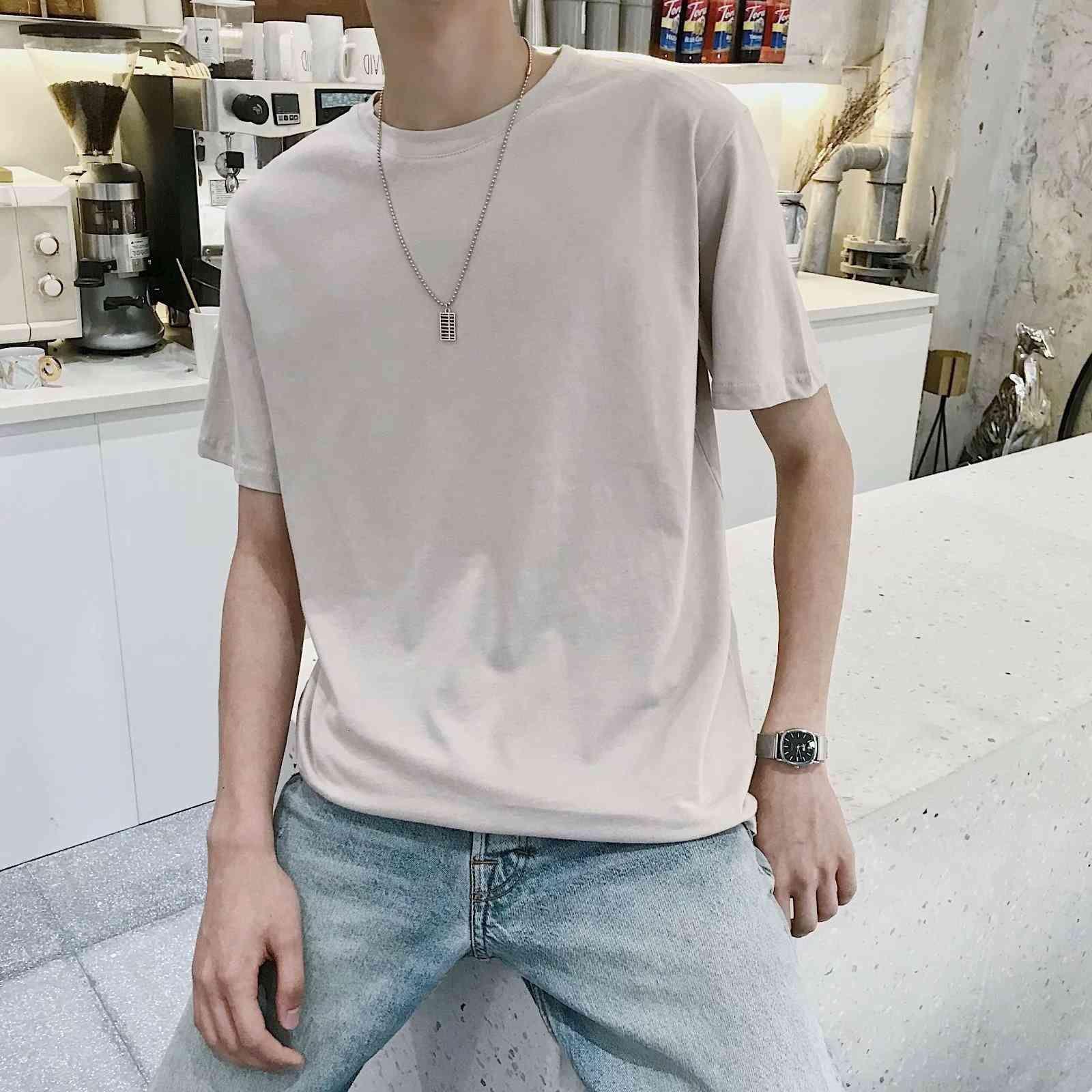 Sommer Kurze Rundhalsausschnitt Zufällige Halbhülse Bodenhemd Jugend Mode Marke Top Herren T-Shirt