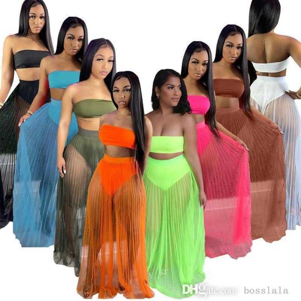 Sommerfrauen Ursache Kleider Two Piece Sexy Mesh Crop Top trägerlosen Rock Bodycon Kleid Mode Solide Farben Rock S-XXL