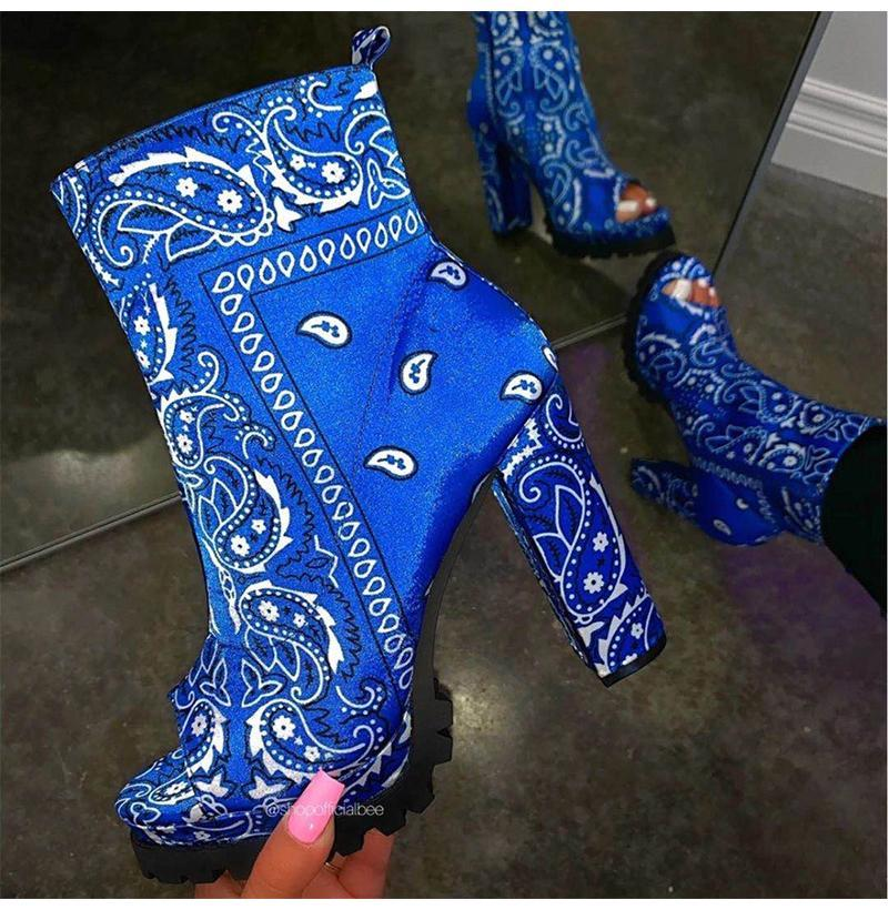 أحذية النساء الكاحل منصة طباعة الجلود باندانا كتابات أحذية عارضة البريدي الأحذية السيدات زقزقة تو مربع كعب 2021 زائد الحجم