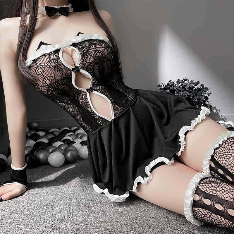 Mesdames Open Open Coffre Sexy Maid cosplay Costumes Costumes Lolita Robe Hollow Out BabyDoll Robe GRLS Sexy Nightwear
