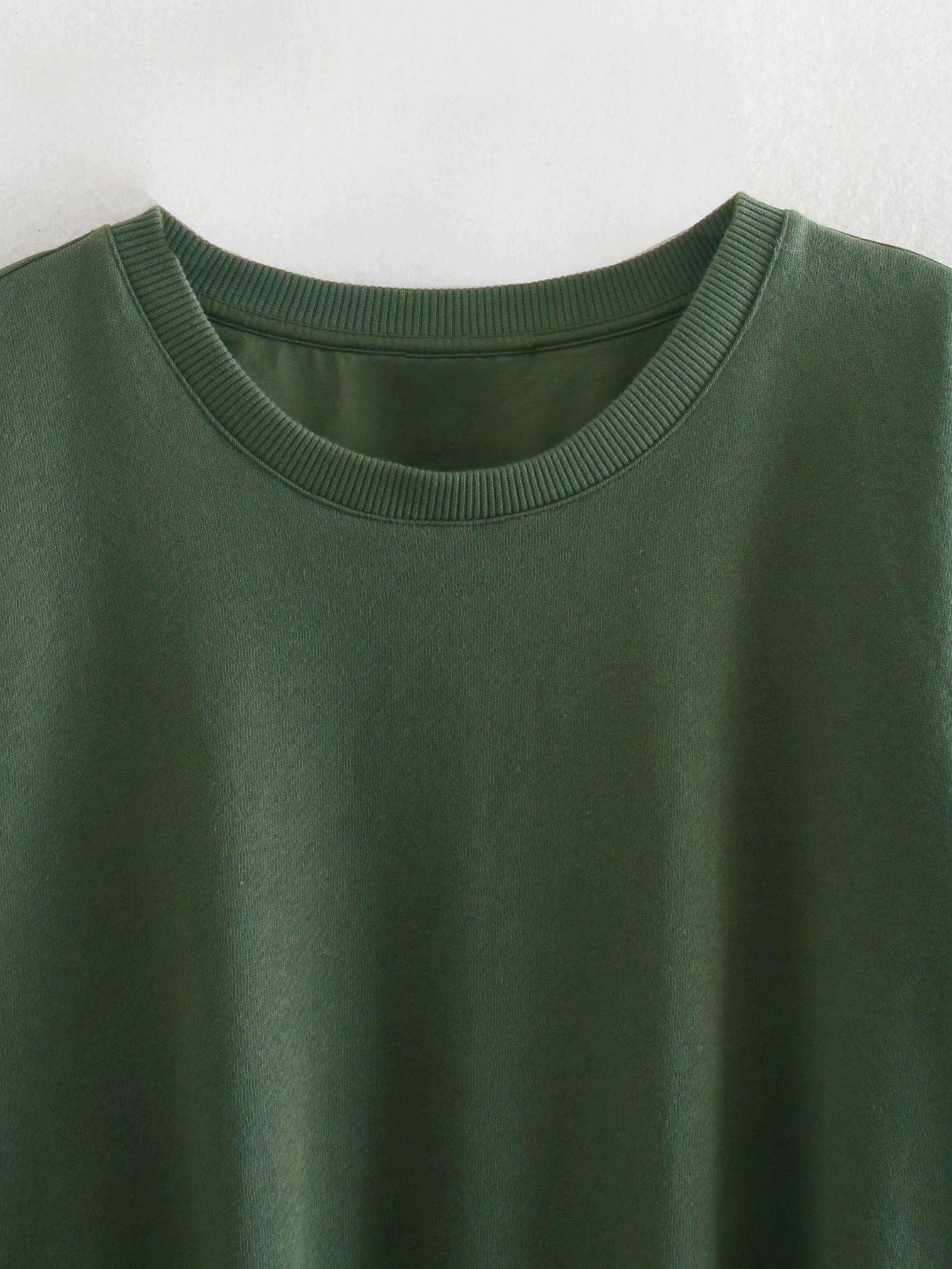TopPies mujer verde sudaderas redondo cuello jerseys arco cintura elástica casual tops streetwear 2020
