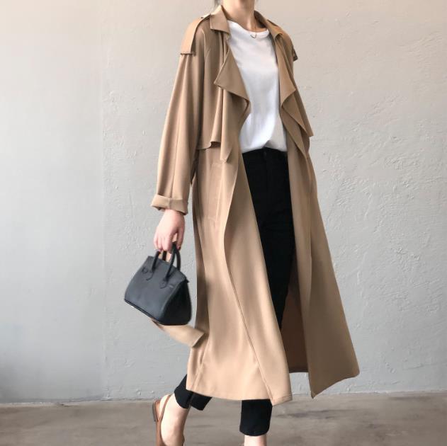 المرأة الخندق معاطف fanshion المرأة معطف طويل مزدوجة الصدر حزام الكاكي سيدة الملابس الخريف الربيع الرجعية مزاجه البريطانية