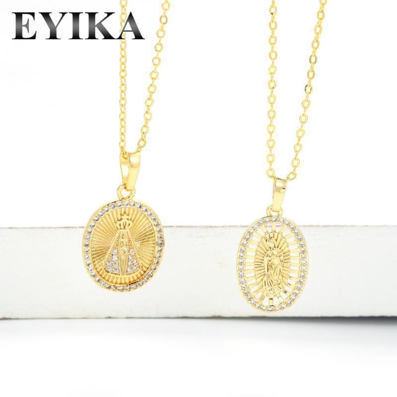 لون الذهب الكلاسيكي العذراء ماري قلادة قلادة كاثوليكية قلادة أبيض زركون كولار المرأة الدين المجوهرات للذكرى الذكرى