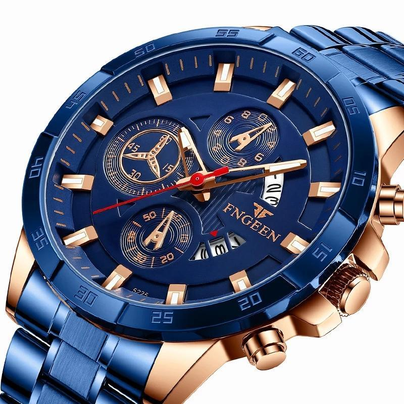 Wristwatches Fashion 2021 Mens Watches Luxury Chronograph Full Steel Waterproof Quartz Watch Men Date Sports Clock Wristwatch
