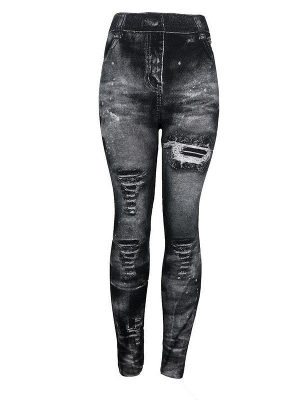 Джинсы 9-цветные весенние имитационные джинсовые леггинсы