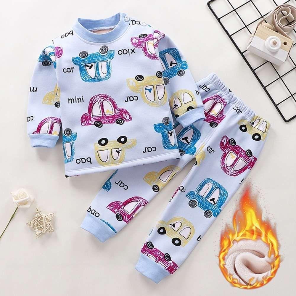 Pyjamas Holyming ShooingUnderwear Costume avec collier élevé épais épaissi en peluche chaud pour les garçons filles en automne et en hiver