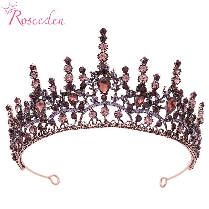 مقاطع الشعر المشابك العتيقة روز الذهب كريستال التيجان العروس تيارا الأزياء الملكة الزفاف تاج مجوهرات اكسسوارات RE4228