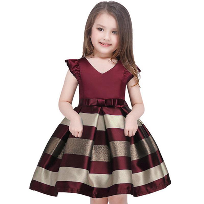 Vestidos de niña Princesa princesa vestido de rayas con cinturón libre Fiesta de niños formal 3-10 años vestido de boda de Navidad