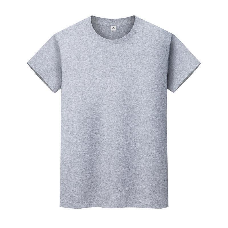 새로운 둥근 목 솔리드 컬러 티셔츠 여름 코튼 바닥 셔츠 반팔 망 및 여성 반 슬리브 70YXTN