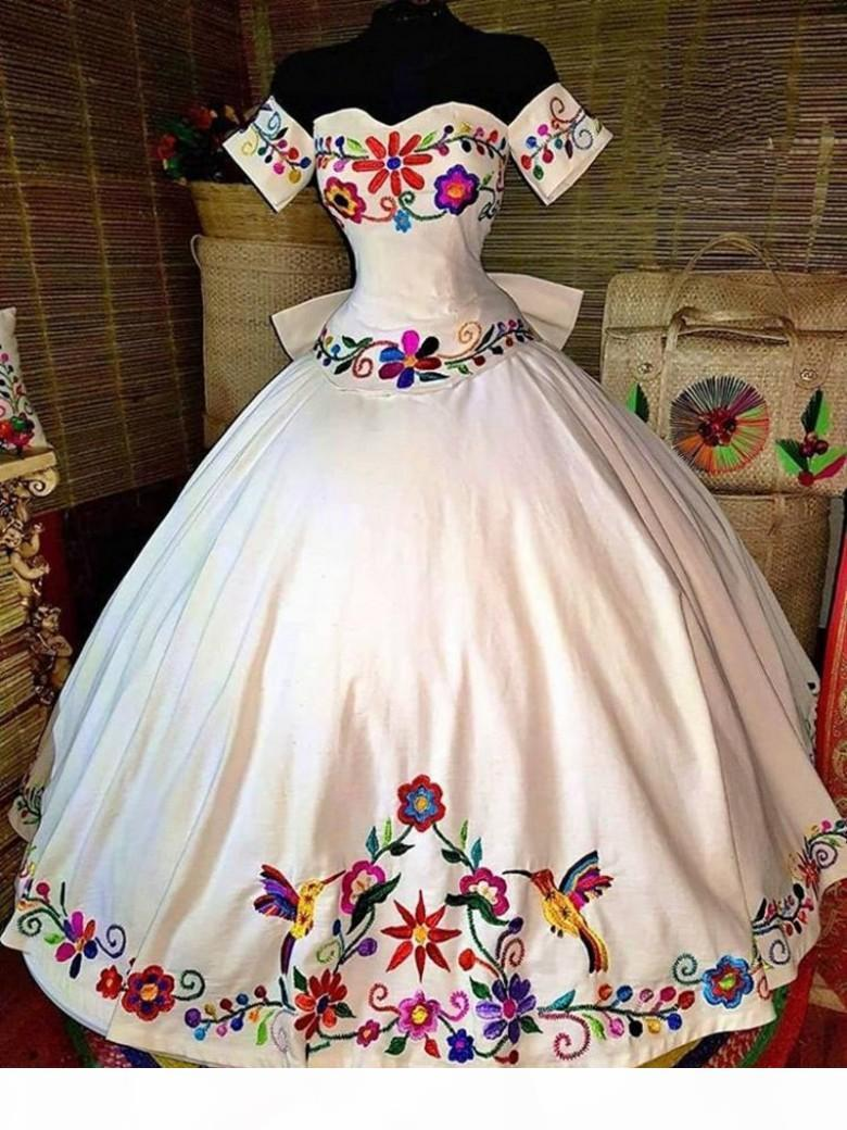 Mexican Charro Quinceanera Dresses Theme Colorful Embroidered Off The Shoulder Satin Lace-up Ball Gown Sweet 16 Dress Girls Vestidos Prom