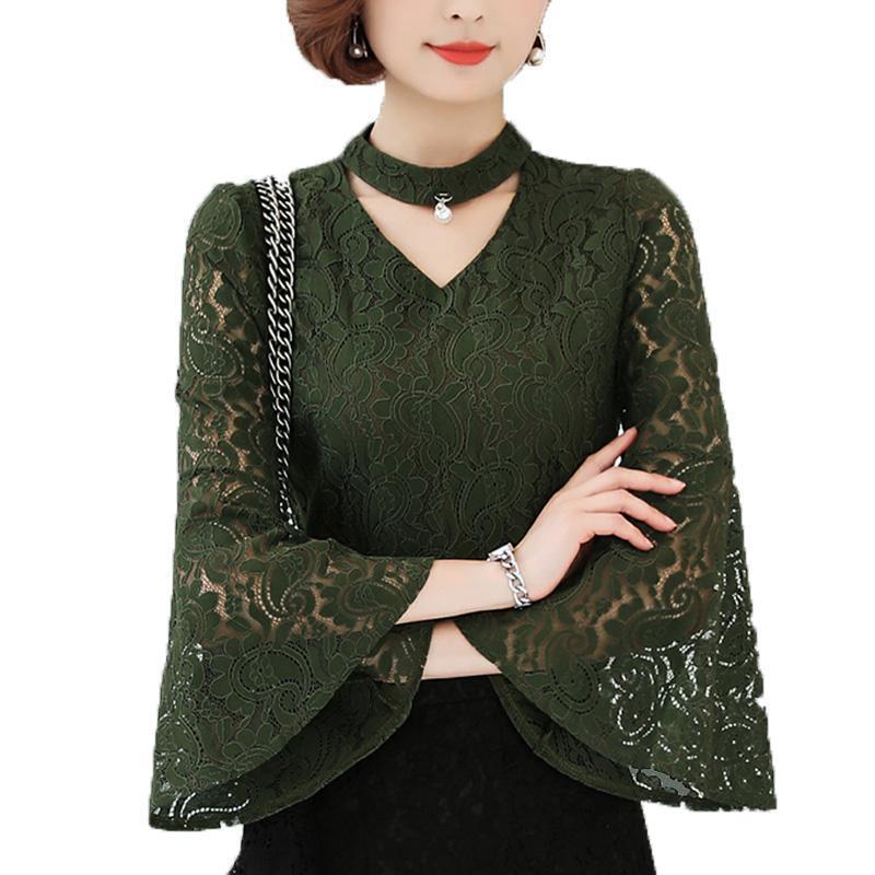 Lace Women Blusa 2021 Verano con cuello en v de la perla de la perla Sólido Oficina Sólida Lady Elegant Tirones Outwear Abrigo Tops Camisa de sobredimensiones Blusas de las mujeres