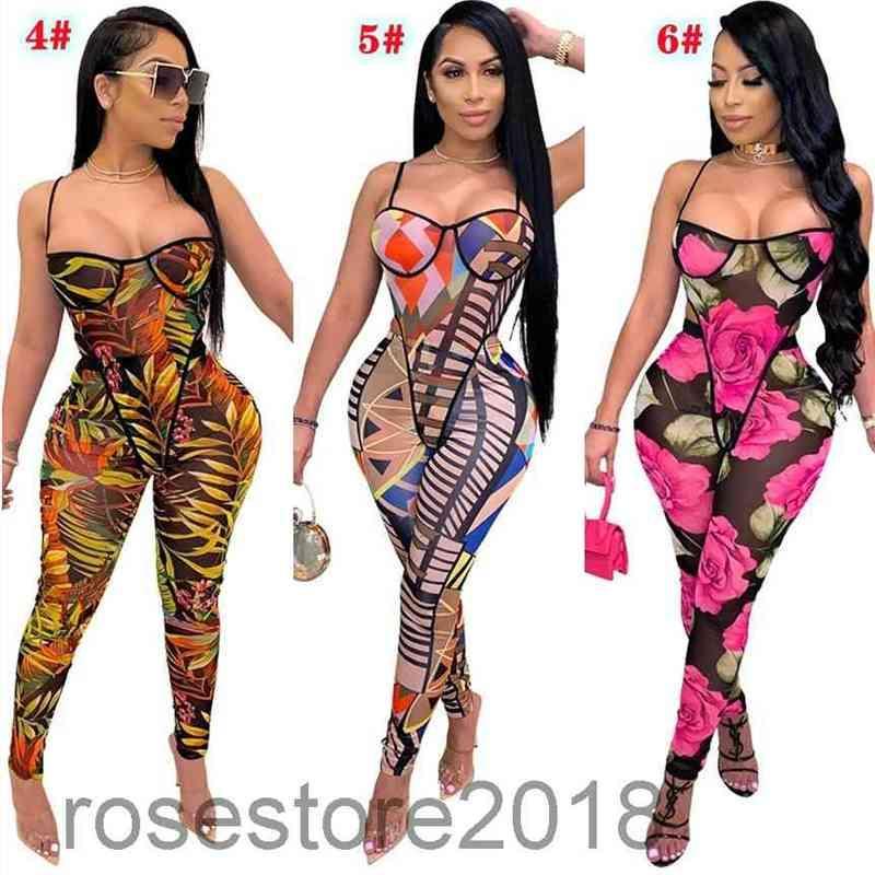 새로운 여성 Jumpsuit 디자이너 서스펜 래핑 된 가슴 원피스 슬림 rompers 패션 인쇄 민소매 슬링 바지 캐주얼 의류