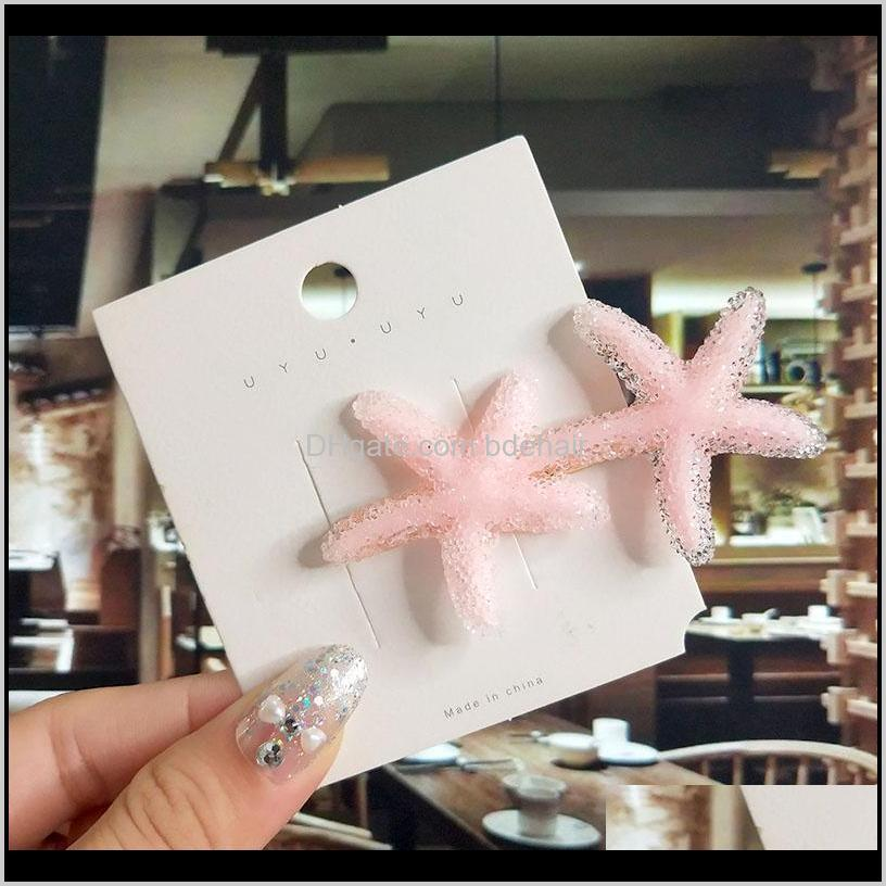 & Tools Products Drop Delivery 2021 Women Barrette Set Fashion Acrylic Simulation Pearl Big Starfish Clips For Girls Hair Accessories Geometr