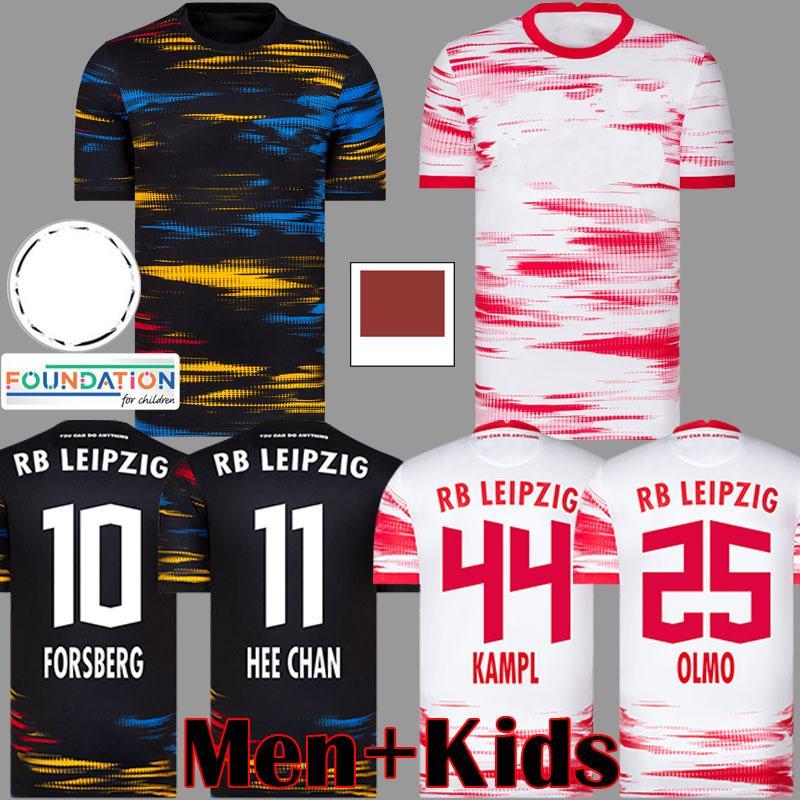 RB Leipzig 20 21 Camisa de futebol em casa fora do terceiro OLMO Camiseta HEE-CHAN Maillot HALSTENBERG SABITZER 2020 2021 Kits de camisa de futebol CUNHA Uniform