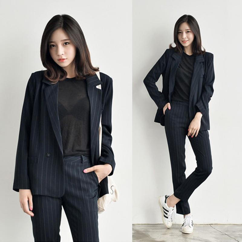 Work Fashion Pant Suits 2 Piece Set For Women Striped Blazer Jacket & Trouser Office Lady Suit Formal Women's Blazers