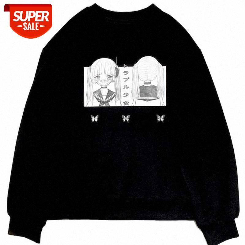 Толстовки спортивные пуловер круглые шеи свитер женские студенты осенью и зима плюс бархатная корейская версия свободных японских комиксов # MT3x