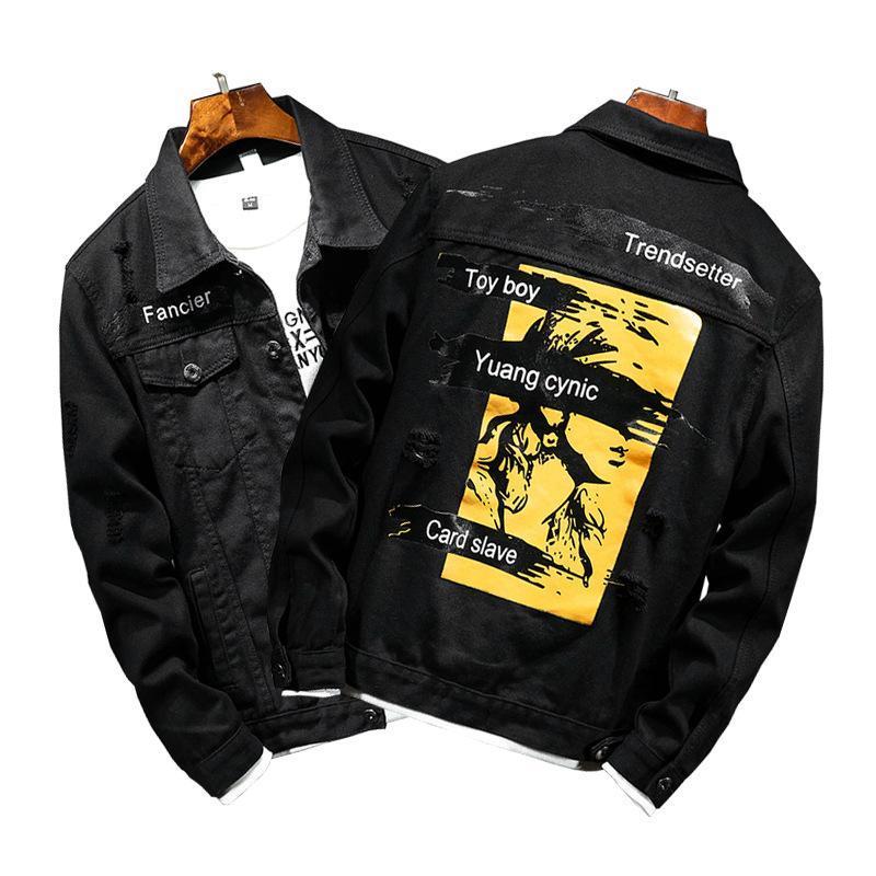 Giacche da uomo Giacche da uomo Stampato Giacca Denim Stampato Primavera Autunno Casual Ropa Para Hombre Uomo Abbigliamento Casacas Jeans