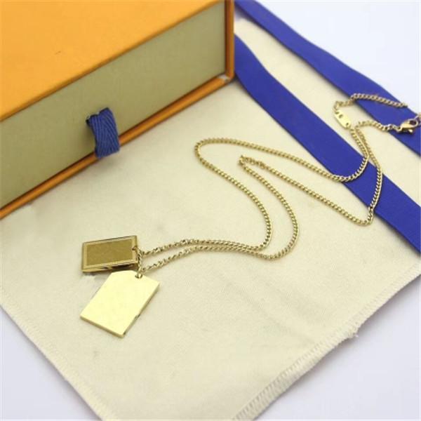 لدينا طوابع الأزياء قلادة إمرأة رجل حزب عشاق هدية الهيب هوب مجوهرات مع مربع