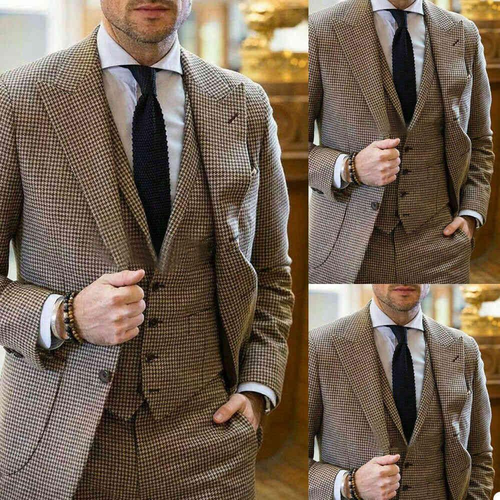 Brown Check Tuxedo Men's Suit Wedding Formal Groom Prom Dinner Blazer 3 Pieces Suits (Jacket+Vest+Pants) Custom Made Overcoat
