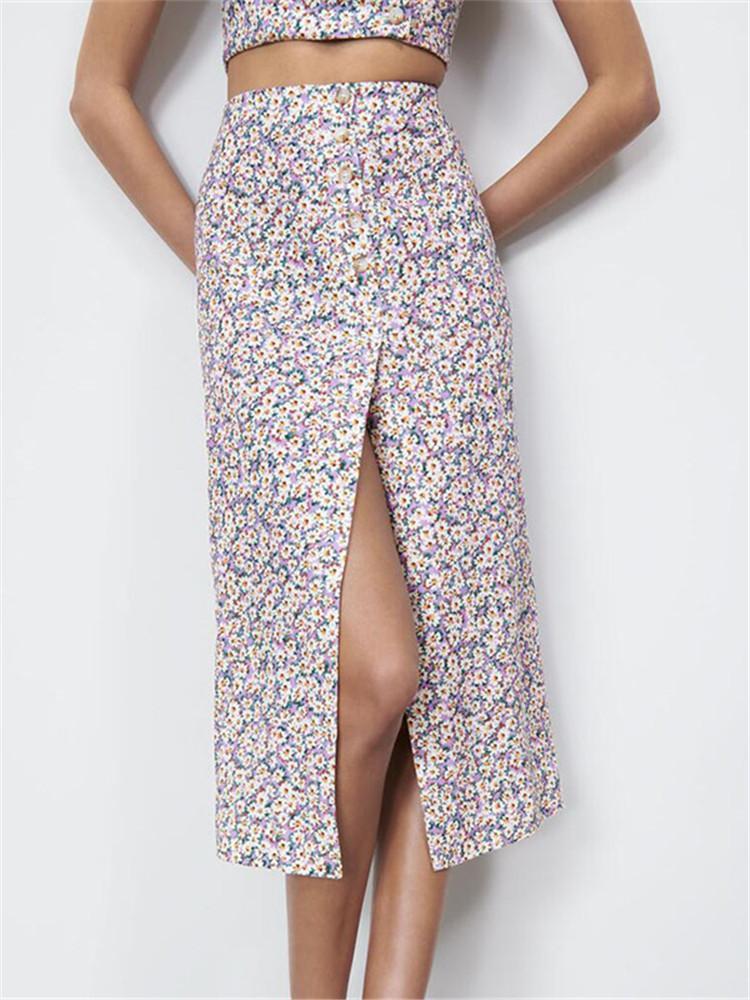 Europäische und amerikanische stil 2021 sommer mode frische lila gänseblümchen floral hohe taille split rock frauen kleidung röcke