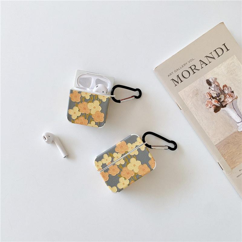 Casos de fone de ouvido Caso duro para Apple Airpods Pro com acessórios de gancho flores