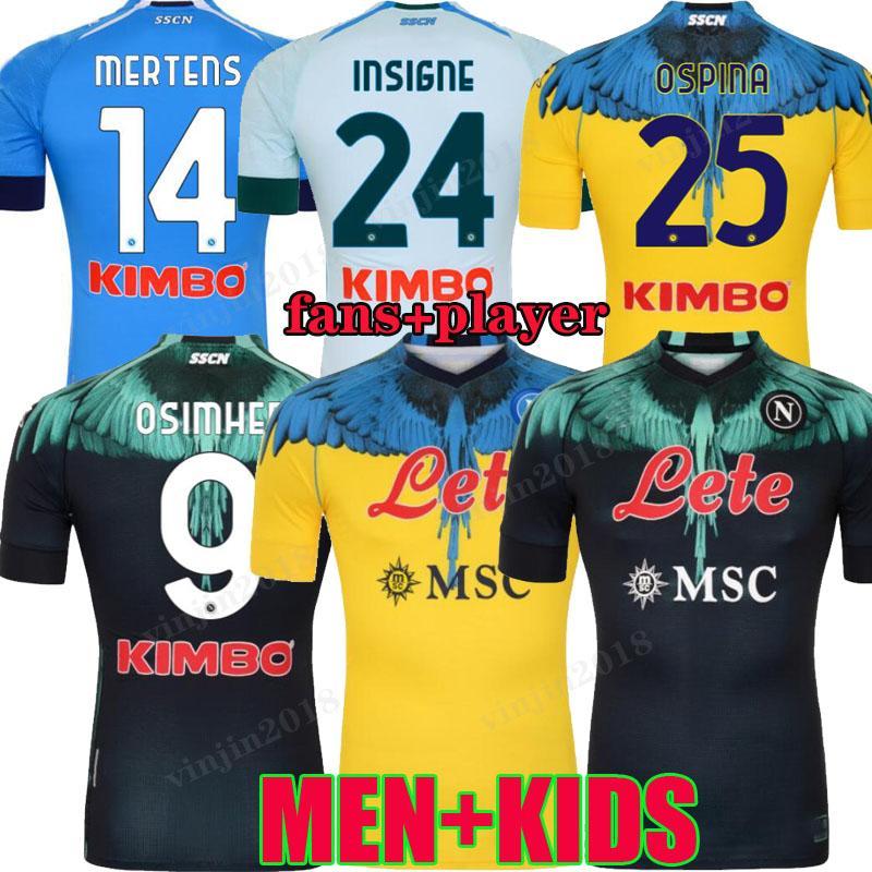 20 21 Napoli Soccer Jersey Naples Football shirt Special-Edition 2020 2021 Koulibaly Camiseta de Fútbol Insigne Maradona Osimhen Merstens Player الإصدار Men Kids Kit