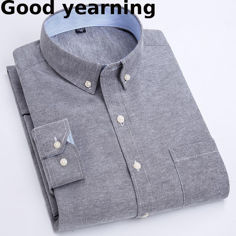 비즈니스 Camisa 2021 도착 남성 셔츠 긴 소매 옥스포드 패션 인과 원인 단단한 능직 맨 셔츠 브랜드 의류 소프트 편안한 남성 캐주얼