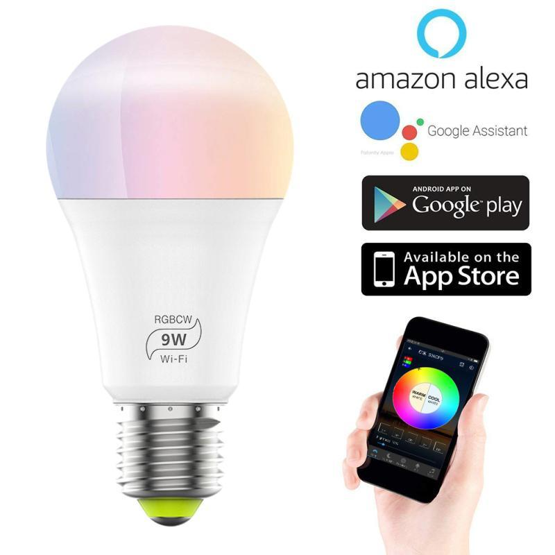 스마트 홈 컨트롤 9W E27 LED 전구 와이파이 RGB 변경 색상 변경 지능형 모듈 램프 앱 원격 음성 용 Alexa Google
