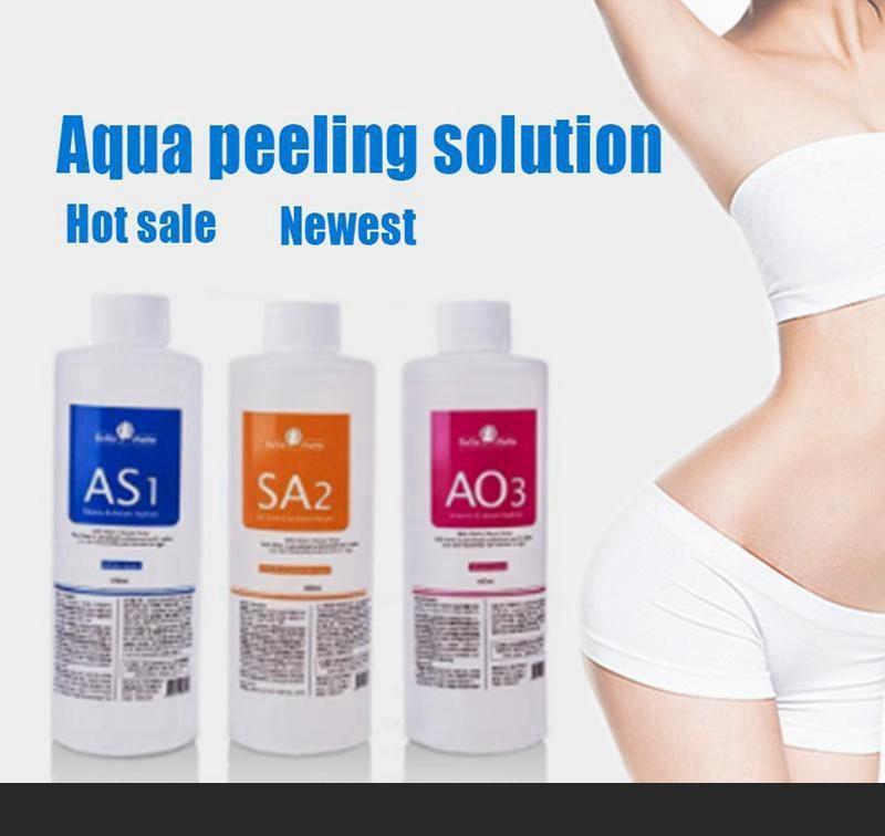 Aqua Peeling Solution 400ml por garrafa Hydra Dermaabrasão Máquina Hydrafacial Sorum Facial Cleansing Blackhead Export Export Export Export para pele normal