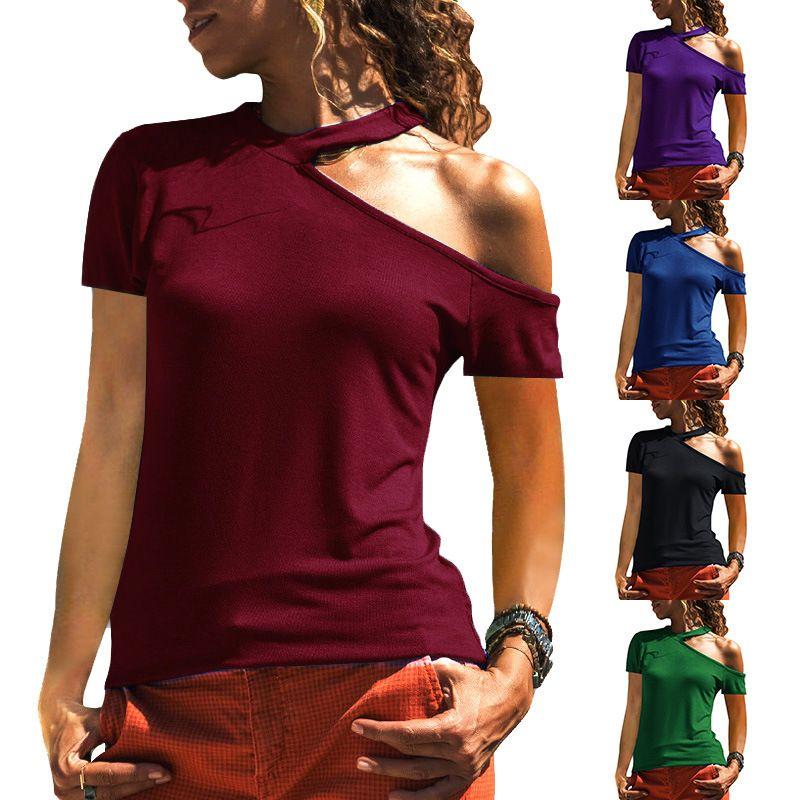 T-shirt femme à manches courtes décontractée pour femmes avec biseauté
