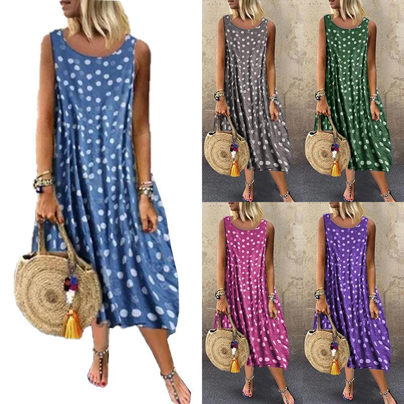 Cross-border women's 2021 summer new pleated sleeveless bohemian print off-the-shoulder loose wave point dress