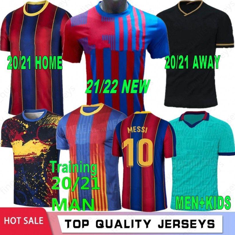 10 Messi 21 22 Maillots de football maillot de football Jerseys 8 A. Iniesta 17 Grieuzmann F. de Jong Suarez Dembele Coutinho O.Dembele Hommes Kit Enfants 2021 2022