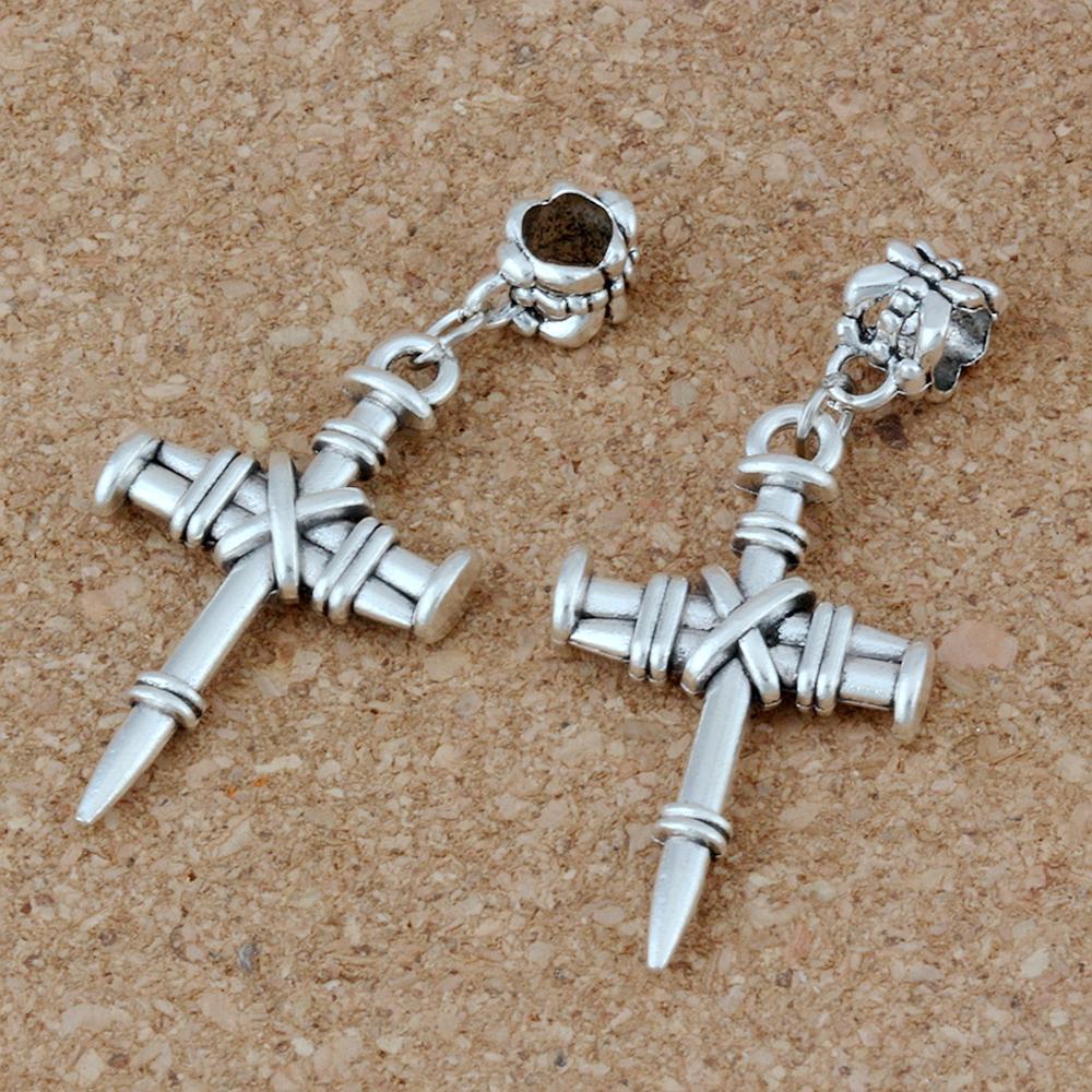 50pcs / lot en alliage d'argent d'argent à ongles de charme de breloque pour bijoux fabrication de bracelet collier bricolage accessoires 20x47mm A-210A