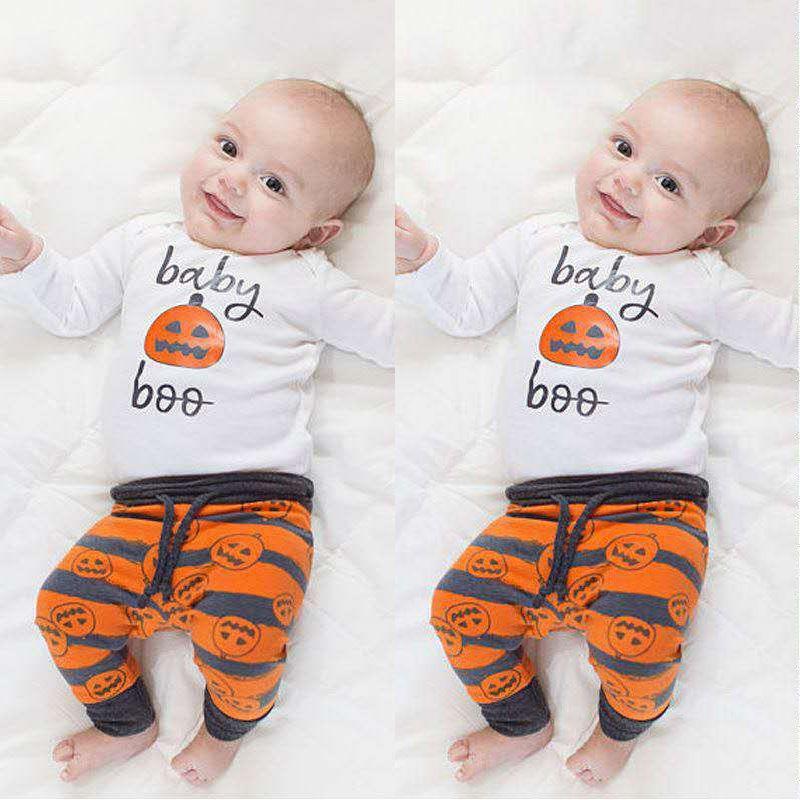 Niños Baby Girl Ropa Sets Recién Nacido Romper + Pantalones + Sombrero 3 unids Halloween Calabaza Boys Ropa Set Ropa para bebés