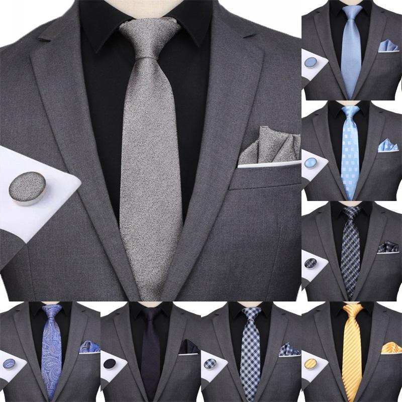 Классические мужские наборы 51 Дизайн 100% шелковые галстуки шерсти Hanky Запонки 8 см к пледами полосатые галстуки мужчины формальные деловые свадьбы партия Gravatas 252 R2