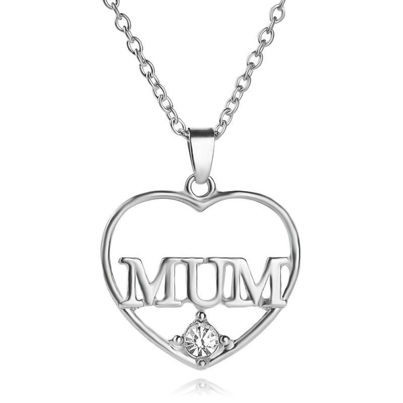 Hohl Liebe Herz Muttertag Geschenk Brief Mama Zirkon Anhänger Halskette Frau Mutter Mädchen Hochzeit Segen Schmuck Halsketten