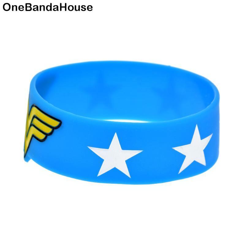 Charm Bracelets 1PC Blue And Black 1 Inch Wide Wonderful Woman Silicone Wristband