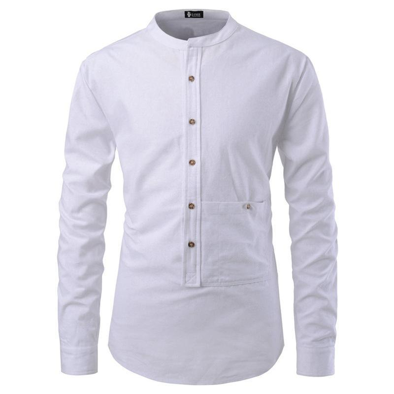 남성 셔츠 긴 소매 스탠드 칼라 솔리드 컬러 풀오버 포켓 캐주얼 싱글 브레스트 슬림형 탑스 셔츠