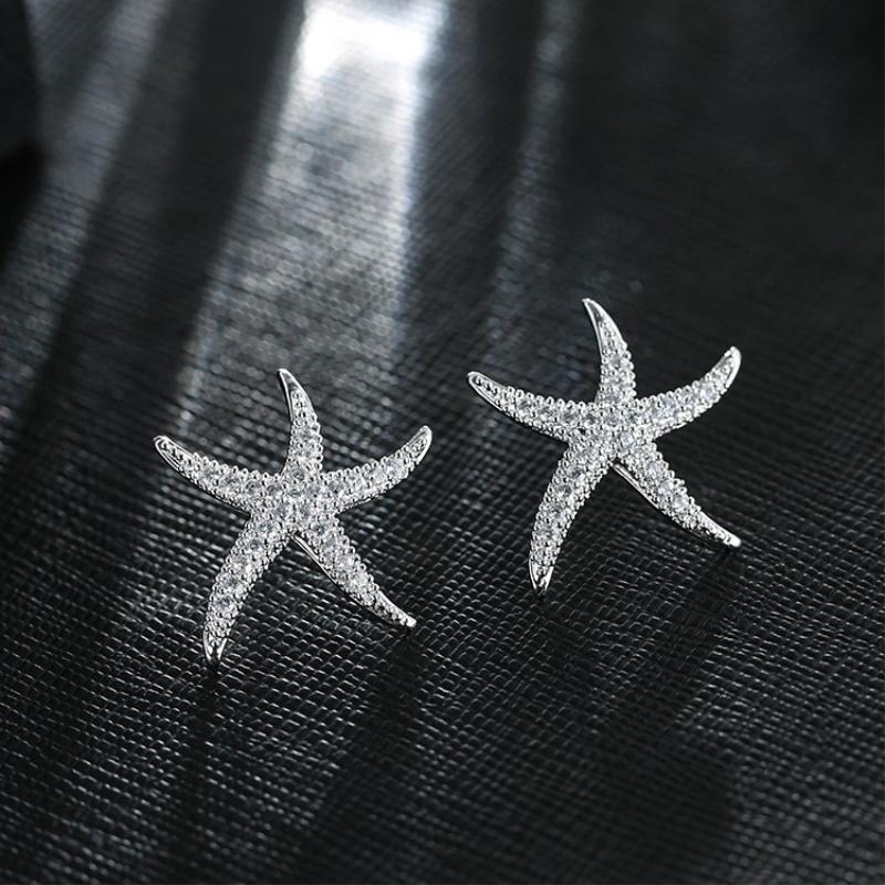 Nefis Denizyıldızı Zirkon 925 Ayar Gümüş Mizaç Alerji Tatlı Kişilik Trendy Kadın Saplama Küpe Sea211