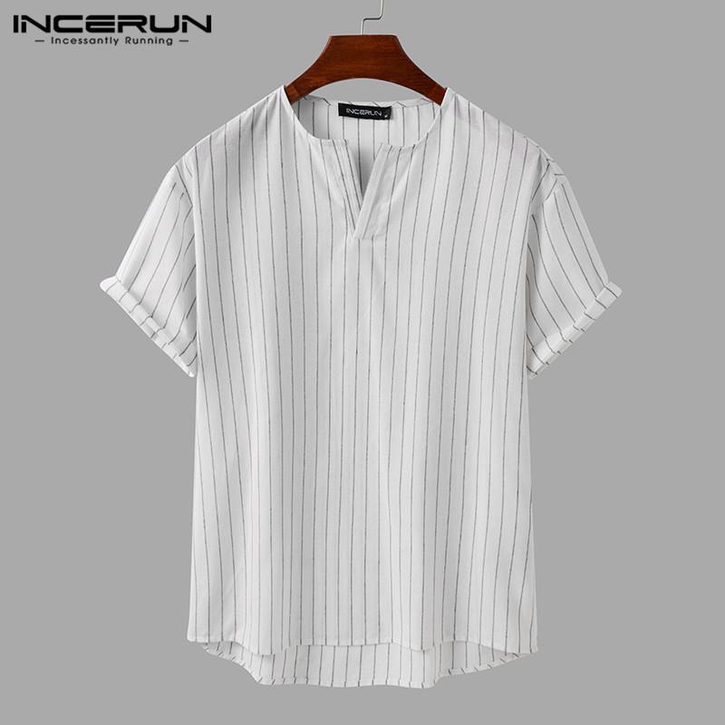Mann baumwolle atmungsaktive blusas herren gestreifte shirts casual kurzarm v-ausschnitt camisa mode lose harajuku bluse s-5xl männer