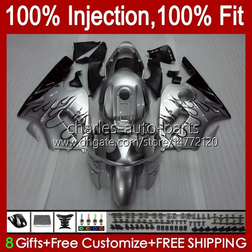 100% FIT Injektion för Kawasaki ZX1200 C Silvery Flames ZX 1200 12R 1200CC 00 01 48HC.26 ZX 12 R ZX12R 00 01 ZX-12R 2000 2001 OEM Fairing Kit