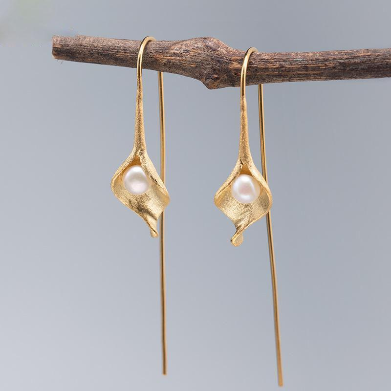 Nature Freshwater Pearls Earings Fashion Jewelry Gold Drop Earrings For Women Real 925 Sterling Silver Fine Dangle & Chandelier