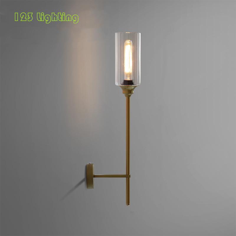 Lâmpada de parede Loft Nordic Gold Black Metal Parlor Bdeside El Room Sconce Clear Glass E27 Minimalista Iluminação Luminárias