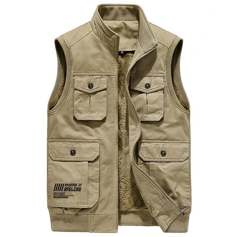 Куртка зимний мужской рукавов флис жилет теплый разгрузка военные много кармана тактическое пальто мужской осенний меховой жилет мужские жилеты