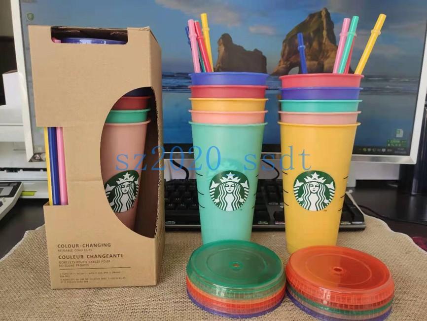 Starbucks 24 Unzen / 710ml Kunststoff wiederverwendbare Sippy Cup mit transparentem Zylinderdeckel zum Trinken