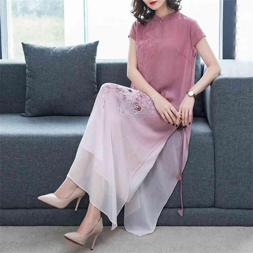 Rosa Floral Seide Cheongsam Elegant Maxi Kleider Sommer Print 4XL Plus Größe Chinesischer Stil Kleid Frauen Bodycon Party Vestidos 210603