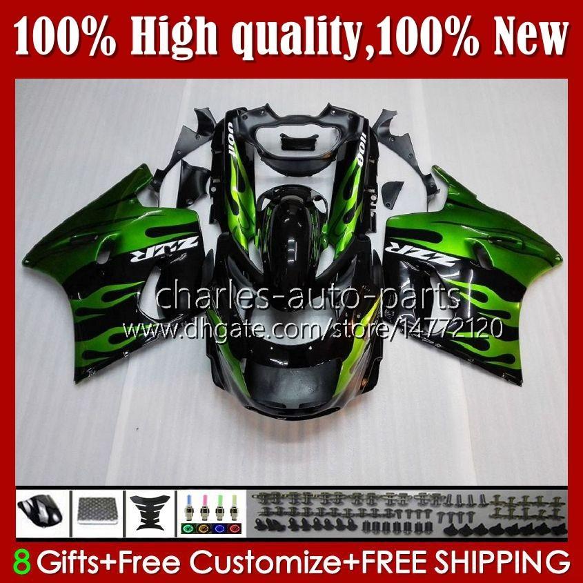 OEM-lichaam voor Kawasaki Ninja ZZR 1100 CC ZX11 R ZZR-1100 96 97 98 99 00 01 31HC.11 Groene vlammen ZX-11R ZX11R ZX 11 R 11R ZX-11 R ZZR1100 1990 1991 1992 1993 1994 1995 Fairing Kit