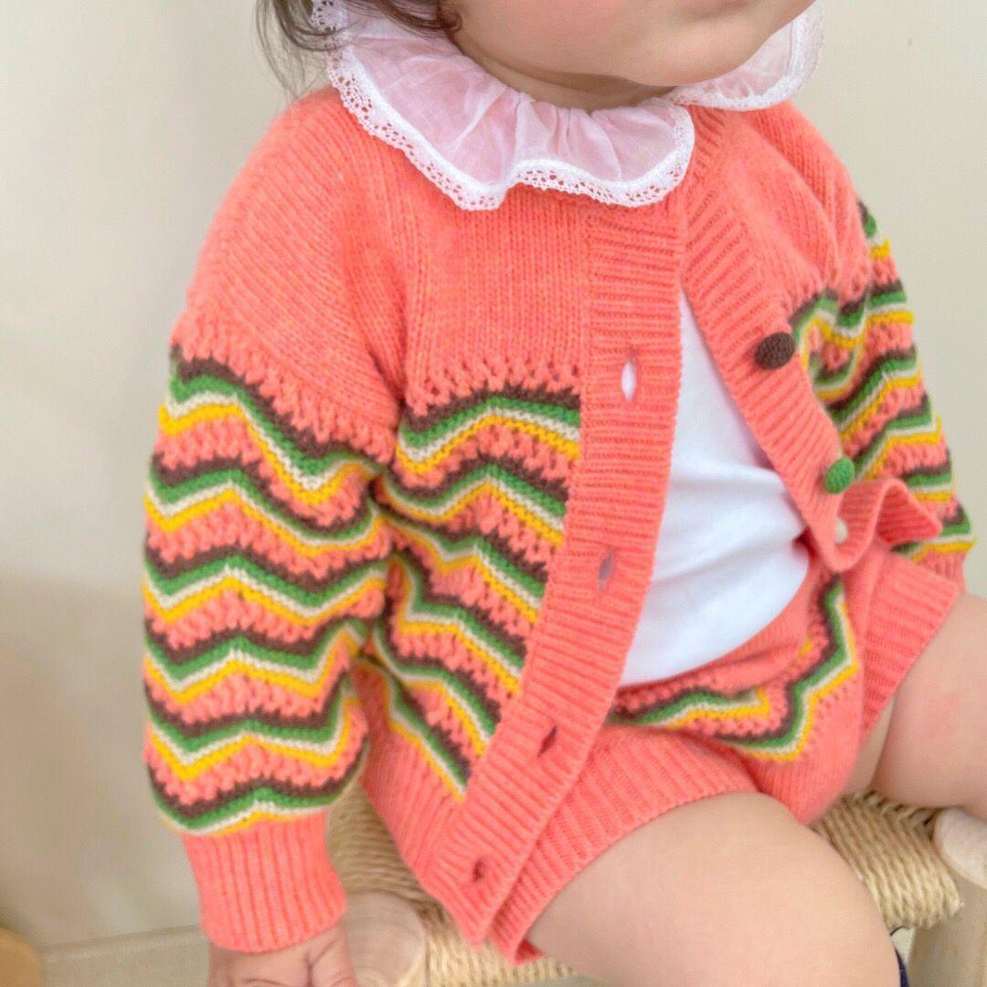 الرضع فتاة الملابس الرضع رومبير الدعيد الخريف الربيع سترة مجموعة أزياء طفل الفتيات الملابس طويلة الأكمام متماسكة سترة + مجموعات قصيرة