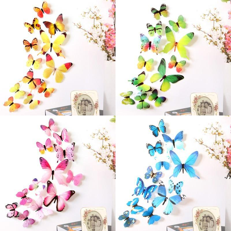12pcs 3D Decal Colourful Butterflies Wall Stickers Home Room Decoration Kids DWE5921