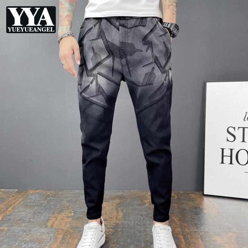 패션 하렘 바지 스플케이션 된 위장 그림 Drawstring 마이크로 탄성 멀티 포켓 발목 길이 바지 가을 겨울 남성